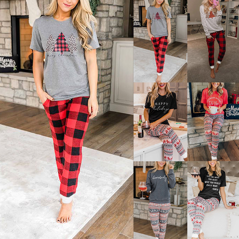 women's autumn and winter home letter printing Christmas suit NSKX5796