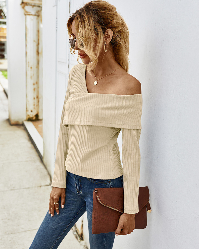 women's  autumn and winter sexy strapless long-sleeved T-shirt wholesale NSKA287