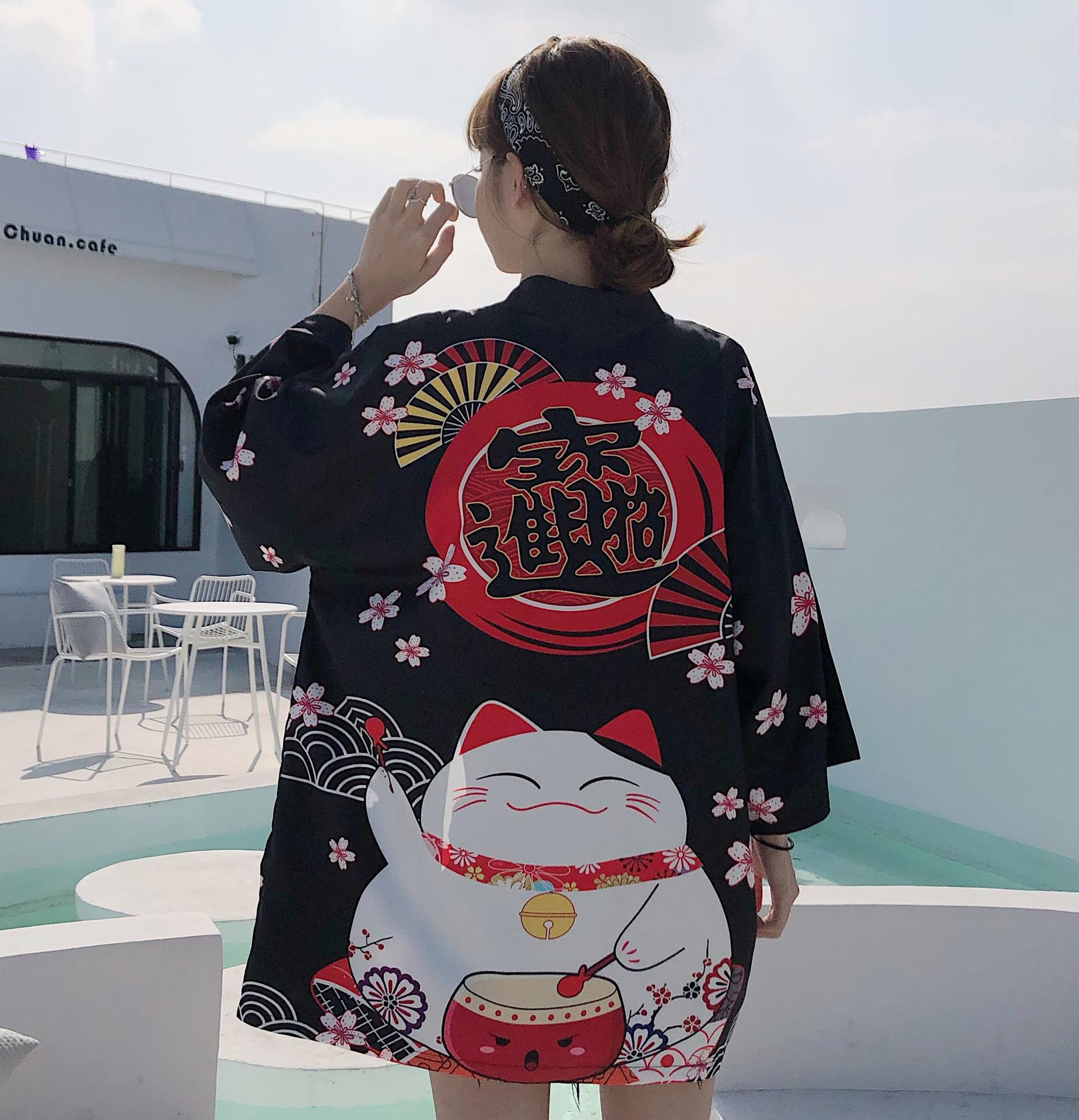 2020夏新款中国风改良文艺招财猫图案防晒衣宽松开衫和服外套上衣