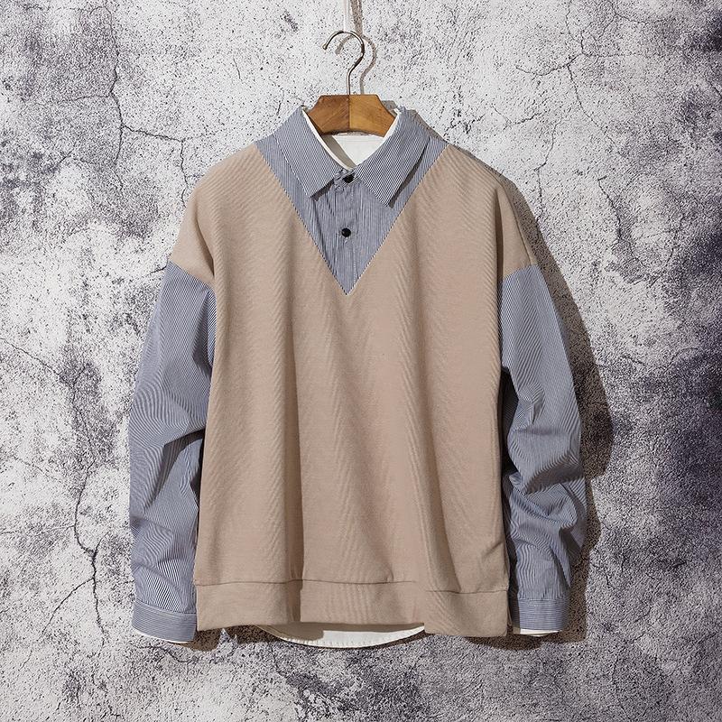 秋季男生假两件衬衫背心潮流简约韩版宽松百搭休闲条纹长袖衬衫