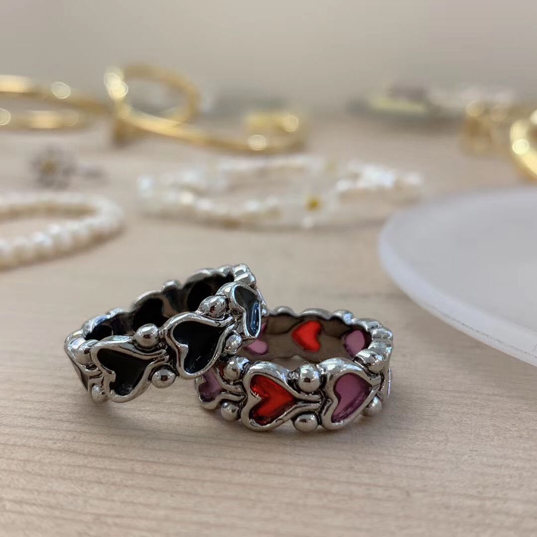 Korea dark line retro love-shaped dripping oil red peach heart couple ring  NHYQ242565