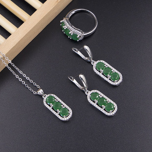 Factory direct supply three-piece Malay chalcedony jewelry set, peanut and peas round bead necklace earrings ring