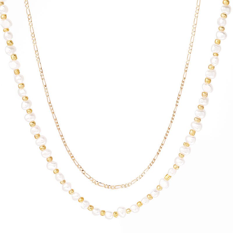 temperament style alloy imitation pearl necklace two-piece tide hip hop necklace supply wholesale nihaojewelry NHJE221068