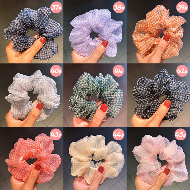 Spring new fashion mesh solid color ribbon cheap scrunchies wholesale NHNA212661