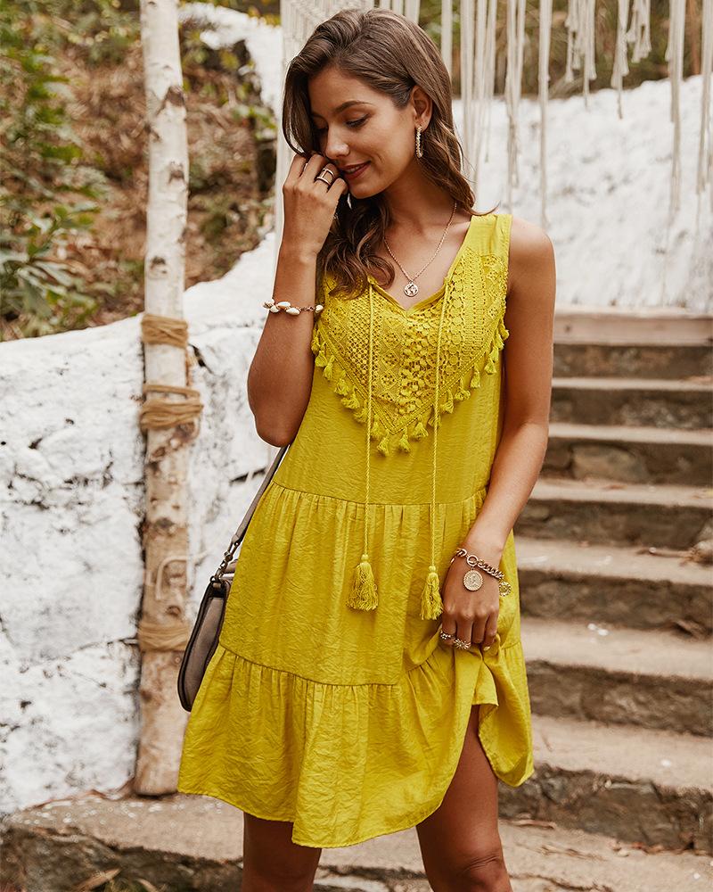 women's summer new loose sexy pure color super fairy dress NSKA1056