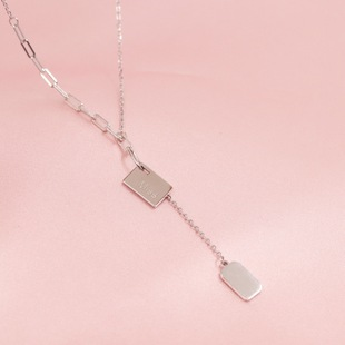 【Pauline】s925 sterling silver lucky LUCK silver necklace ins European and American fashion hip-hop clavicle chain