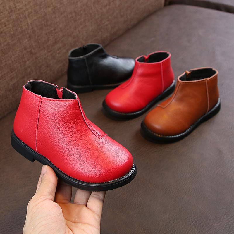 女童短靴子秋冬加绒大棉小宝宝软底保暖冬鞋男童马丁靴儿童皮鞋潮