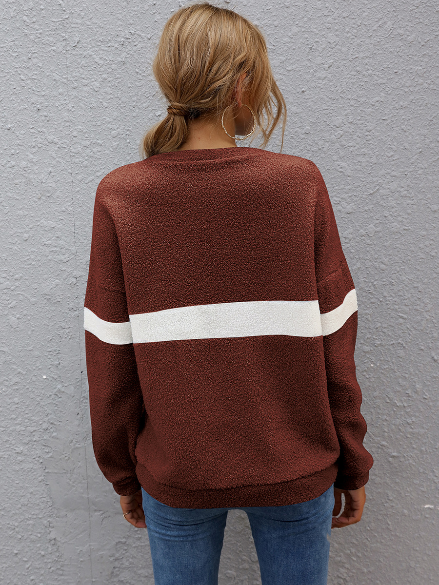 women's hot sale autumn and winter long-sleeved shirt striped stitching warm sweater  NSAL2882