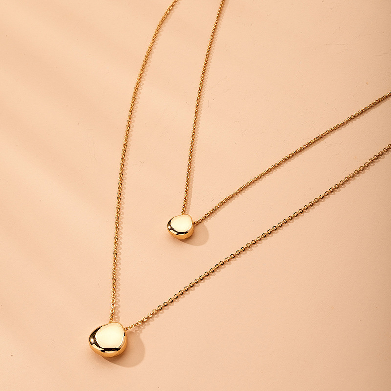 Fashion new Ingot alloy Water Drop Double-layer Clavicle Chain for women NHAI242934
