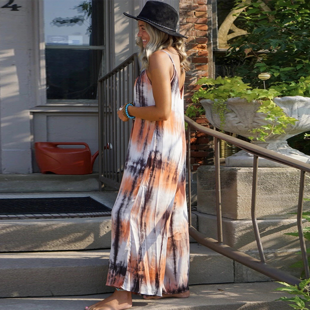 spring and summer new women's skirt print tie-dye loose strap dress NSYD3875