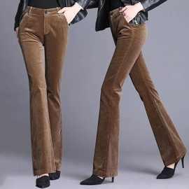 灯芯绒阔腿微喇叭裤女2020秋冬装高腰显瘦加绒加厚修身条绒长裤子
