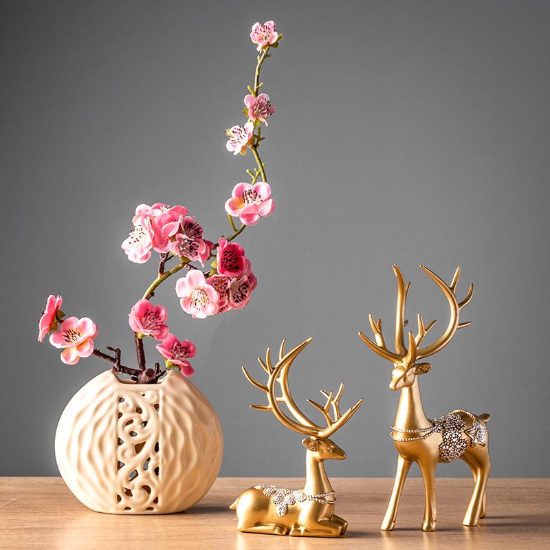 家居客厅现代简约玄关装饰摆设工艺术品小鹿电视酒柜创意轻奢摆件