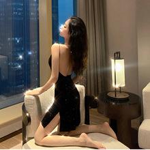 跨境2020夏季新款丝绒闪亮性感露背蹦迪短连衣裙打底吊带裙女装