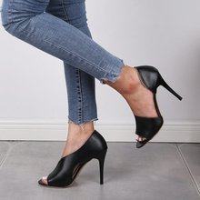 亚马逊wish欧美黑色性感高跟鞋细跟时装鱼嘴凉鞋女跨境女鞋大码43