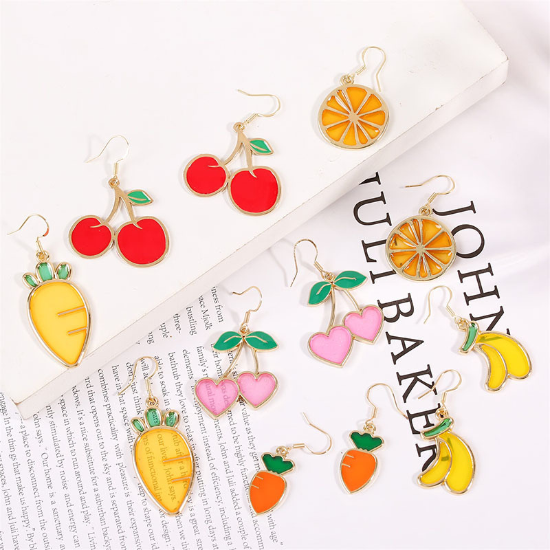 925 Silver Hook Korean Cute Dripping Cherry Fruit Earrings for Women Wholesale NHLA207158