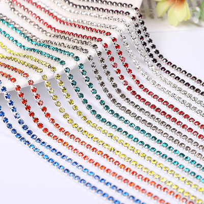 10 Yards Crystal Glass Rhinestones Banding 1 Row Round- Golden Setting Color diamond chain dense type water drill claw chain multi specification DIY mobile phone shell sticking