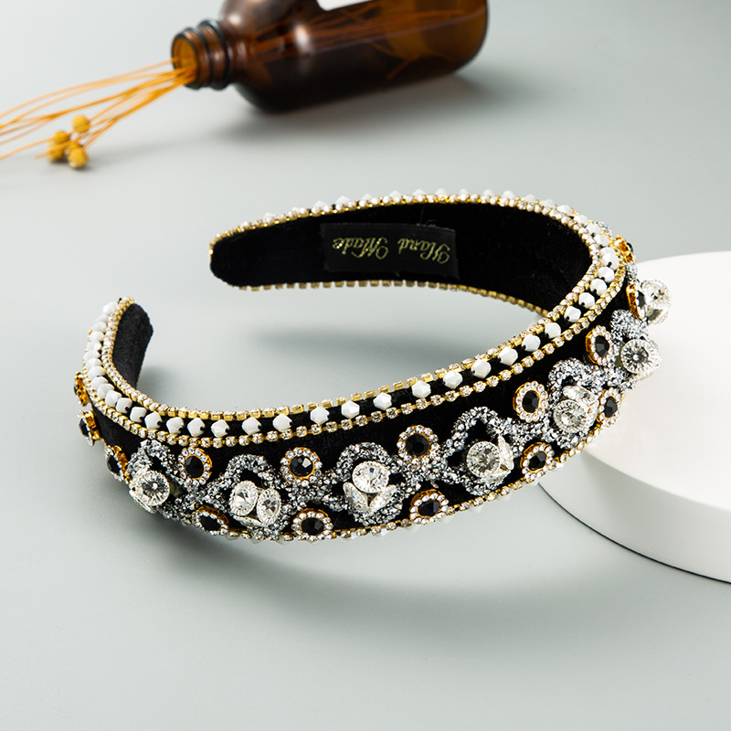 fashion  palace style luxury inlaid rhinestone thin sponge headband baroque inlaid crystal wreath hair accessories nihaojewelry wholesale   NHLN235742
