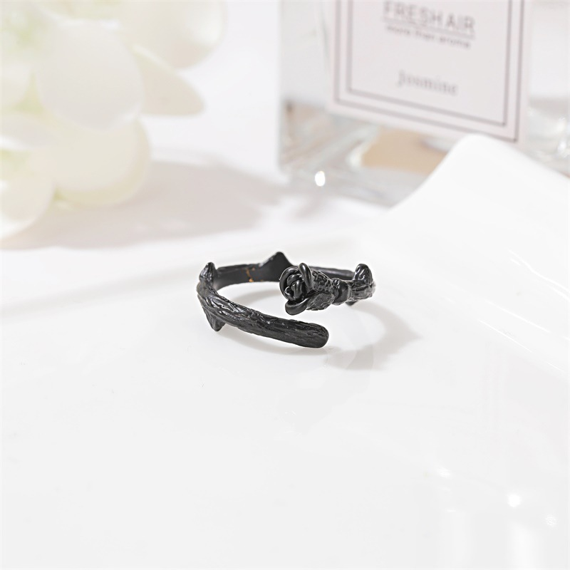 New ring black rose ring ladies simple temperament rose open ring wholesale NHMO214007