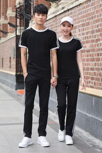 2020 sports suit summer short-sleeved trousers running suit couple group work clothes customization