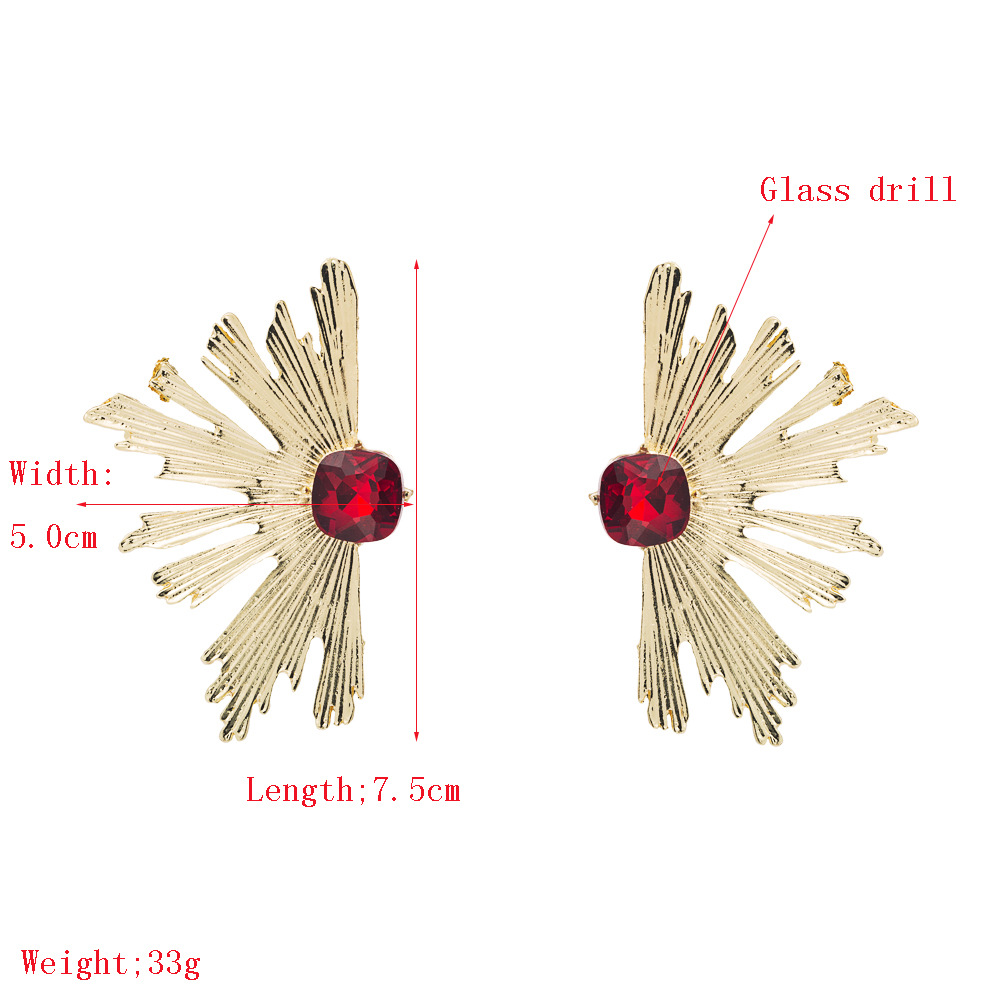 Nihaojewelry exaggerated alloy glass diamond gold fan earrings for women NHLN199766