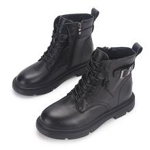 真皮马丁靴女 新款 英伦风女士单靴平底短靴 秋冬保暖厚底靴子