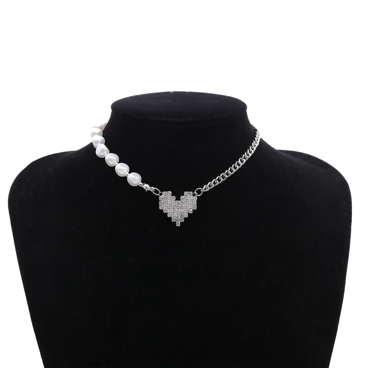 fashion jewelry personality imitation pearl chain necklace creative ins micro-set heart-shaped asymmetric necklace wholesale nihaojewelry NHXR225453