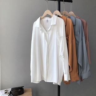 Тао Чуань Чжи Си Си 2020 осень дизайнер стиль chic двойные двери Карман в юбке твердый длинный рукав отворот рубашка Женский 1730