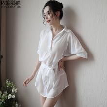 外貿歐美新款情趣內衣女式透視雪紡襯衫睡衣家居服誘惑套裝批發