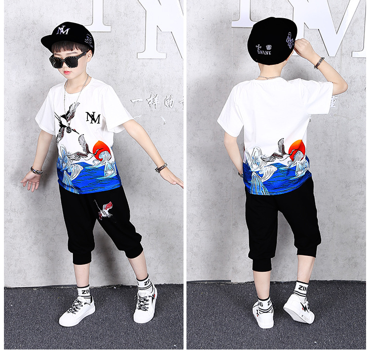 13509813902 825811997 - 2 Pcs Children Summer Clothes Set Boys T shirt + Pants Casual Sports Suits 6 8 10 12 13 14 Years Kids Clothing Casual Tracksuit