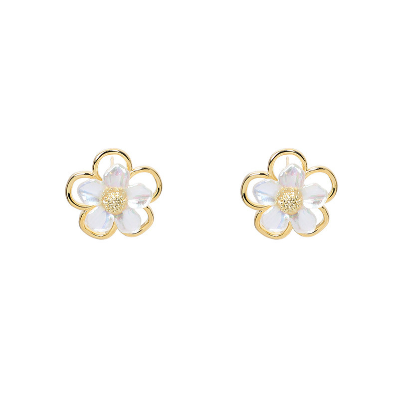 S925 silver colorful flower small and simple earrings fashion jewelry wholesale nihaojewelry NHXI229777