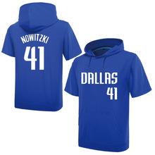 NBA春夏小牛獨行俠41號諾維斯基球衣薄寬松短袖連帽衛衣半袖帽衫t
