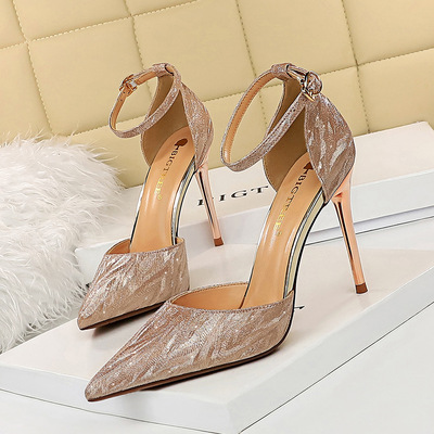 283-61 European and American wind fashion sexy high heels for women's shoes high heel with bright metal film empty sanda