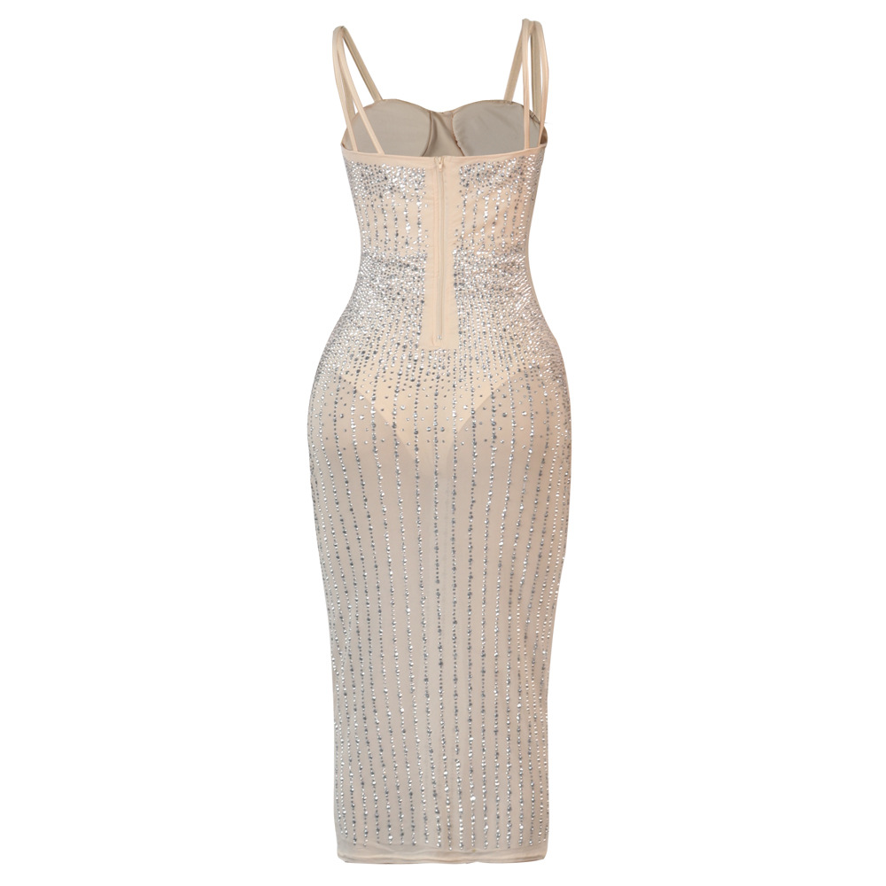 sling drilling see-through slim dress  NSWNY58544