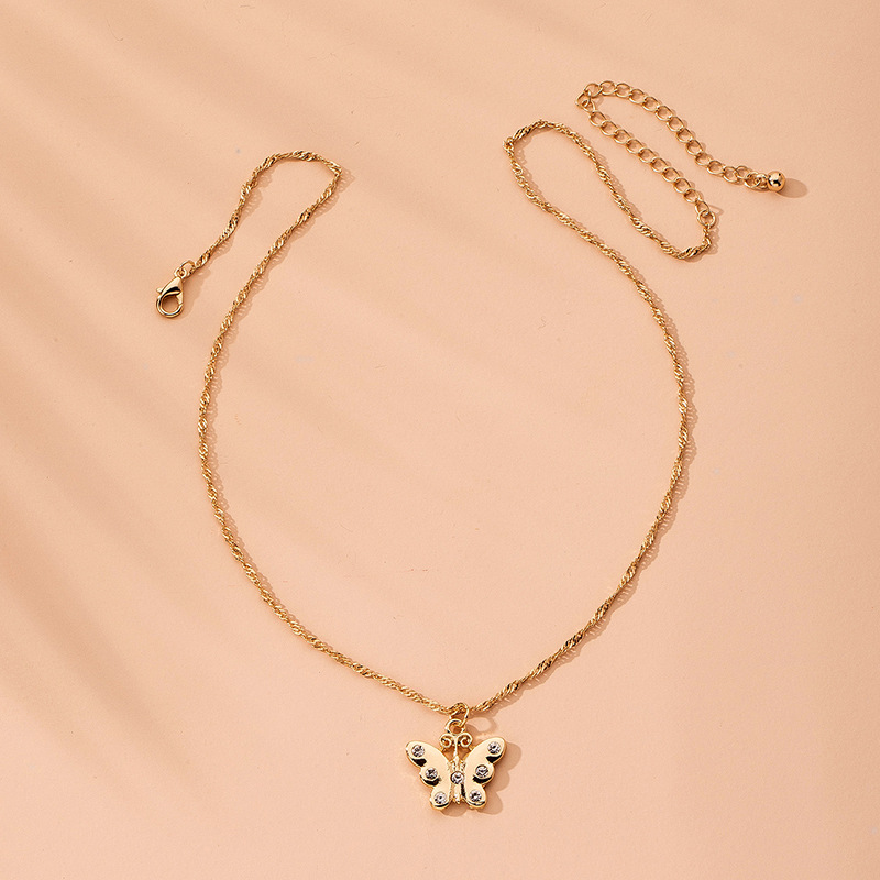 retro diamond-studded butterfly necklace clavicle chain necklace wholesale nihaojewelry NHAI240646