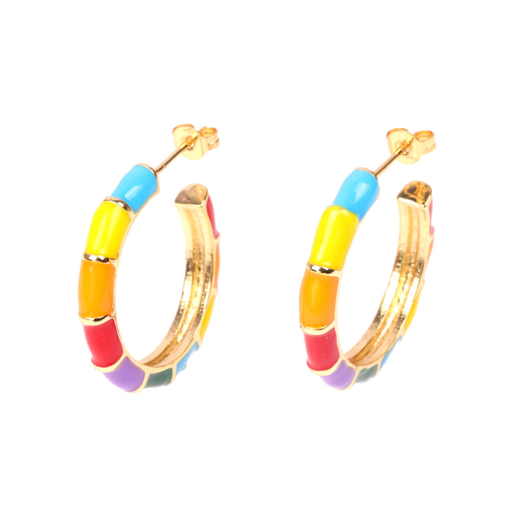 New jewelry contrast color geometric dripping oil earrings exaggerated color earrings wholesale NHPY202875