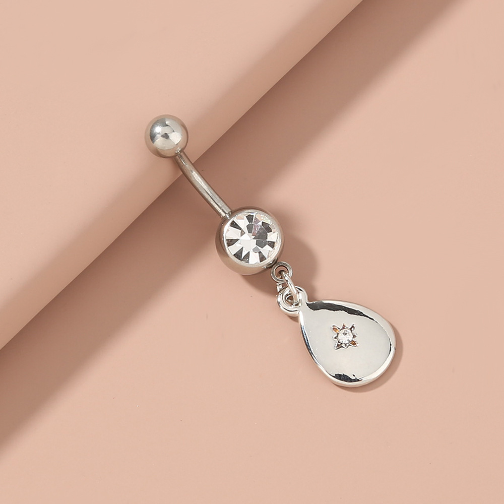 water drop inlaid zircon belly button nails puncture ring  NHAN263050