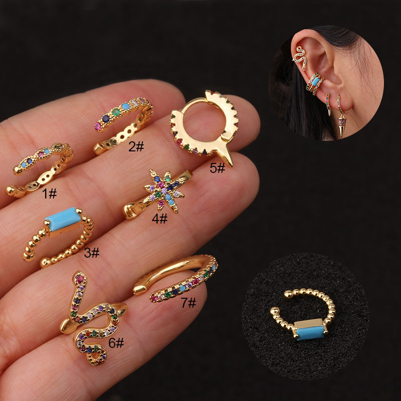 New U-shaped ear clip color zircon ear bone clip fashion non-pierced earrings NHEN256045