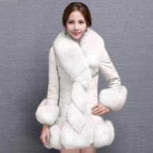 速卖通外贸秋冬时尚女士韩版中长款pu皮大衣拼接仿狐狸毛皮草外套