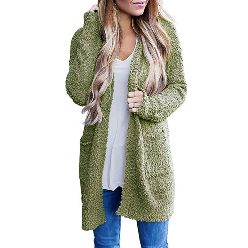 autumn and winter new knitwear solid color granular velvet double pocket cardigan sweater NSYF839