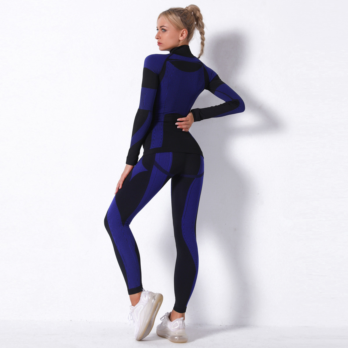seamless knitted striped long-sleeved two-piece sports yoga suit NSLX9016