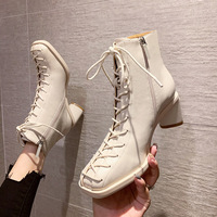 7111-5 sexy lace-up high Martin boots with joker temperament single thin boots thick with web celebrity female thin short boots boots