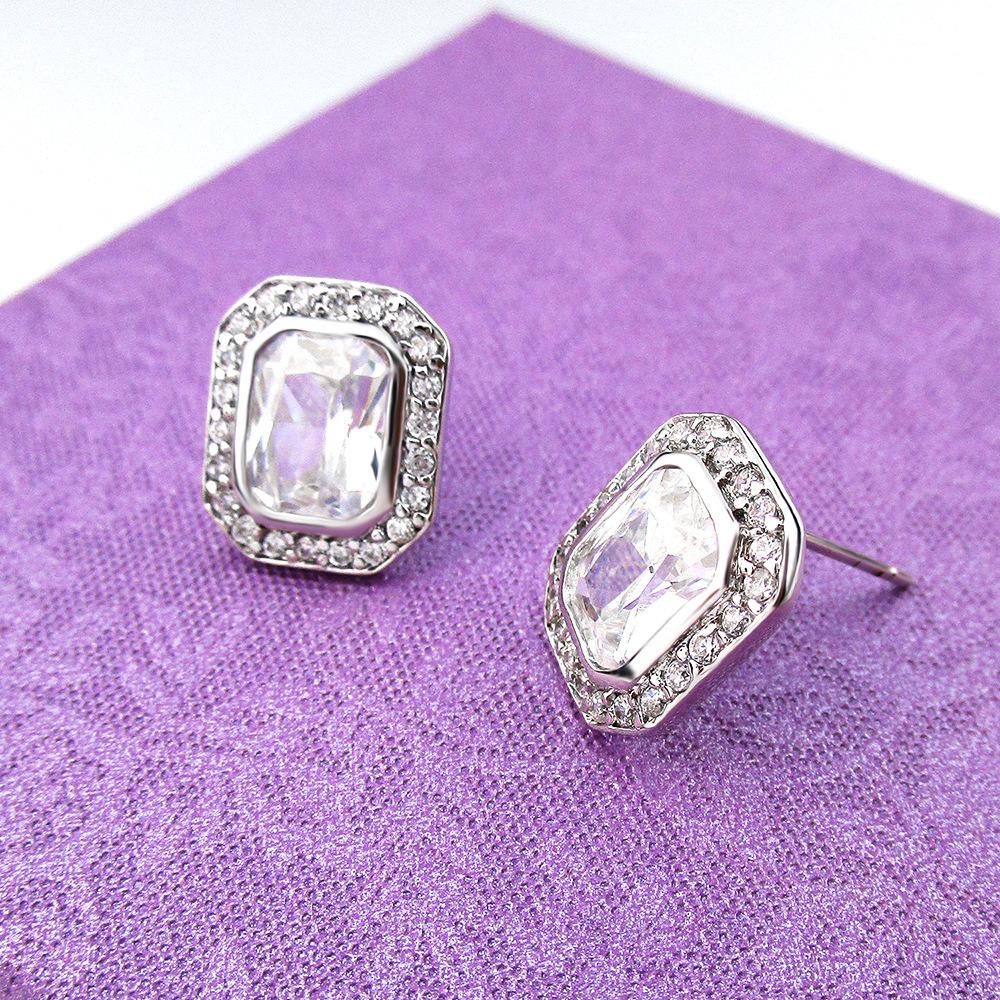 New fashion square earrings earrings wild earrings copper inlaid zircon earrings girls gift gift box wholesale NHLJ219305