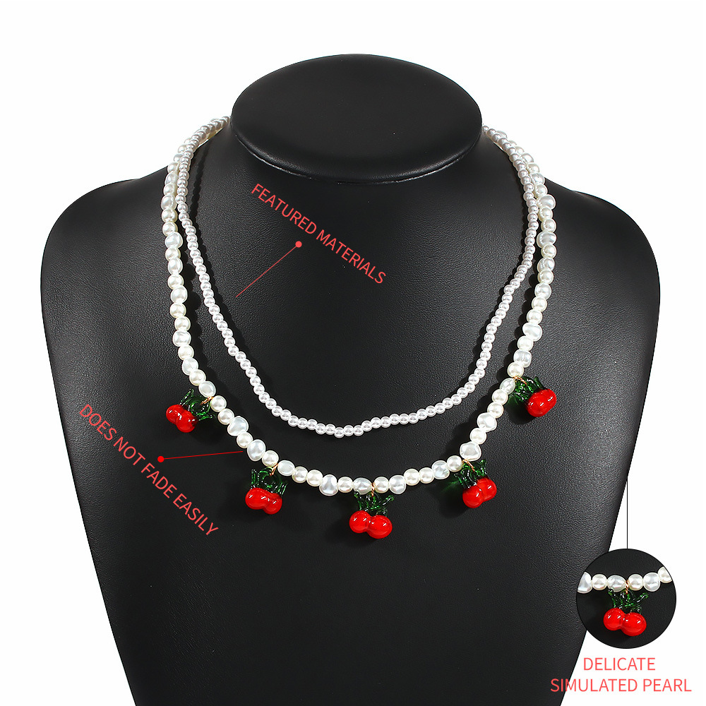 creative ethnic wind pearl necklace set summer fashionable wild resin cherry necklace wholesale nihaojewelry NHMD223304