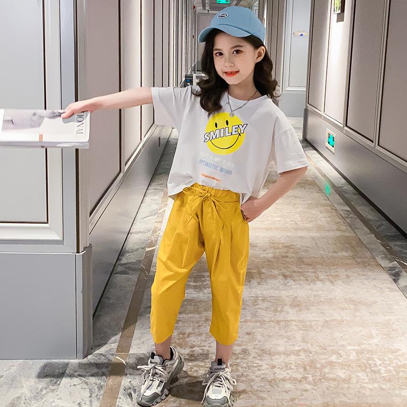 女童套装夏装韩版2020年新款夏季休闲中大童装洋气时髦短袖两件套