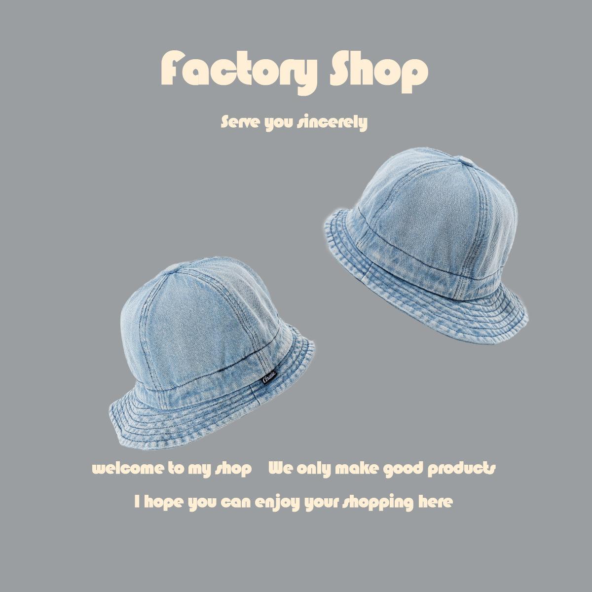 水洗牛仔蓝色渔夫帽女百搭复古日系阿美咔叽帽子男潮夏新品遮阳帽