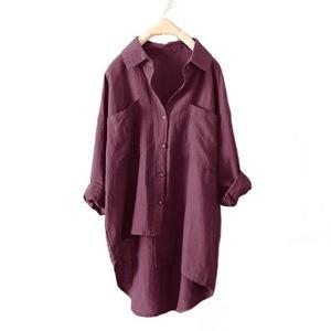 អាវ នារី New Casual Style Solid Color Women Shirt Double-Pocket Long-Sleeved PZ529616