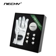 工厂定制高尔夫小羊皮手套 精美皮盒 个性定制golf练习球礼品套装