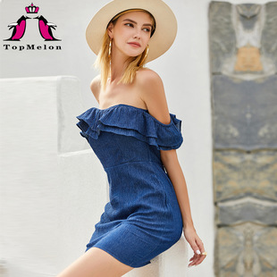 Cross-border hot-selling 2020 summer new style European and American sexy flat shoulder ruffle stitching female dress 18253