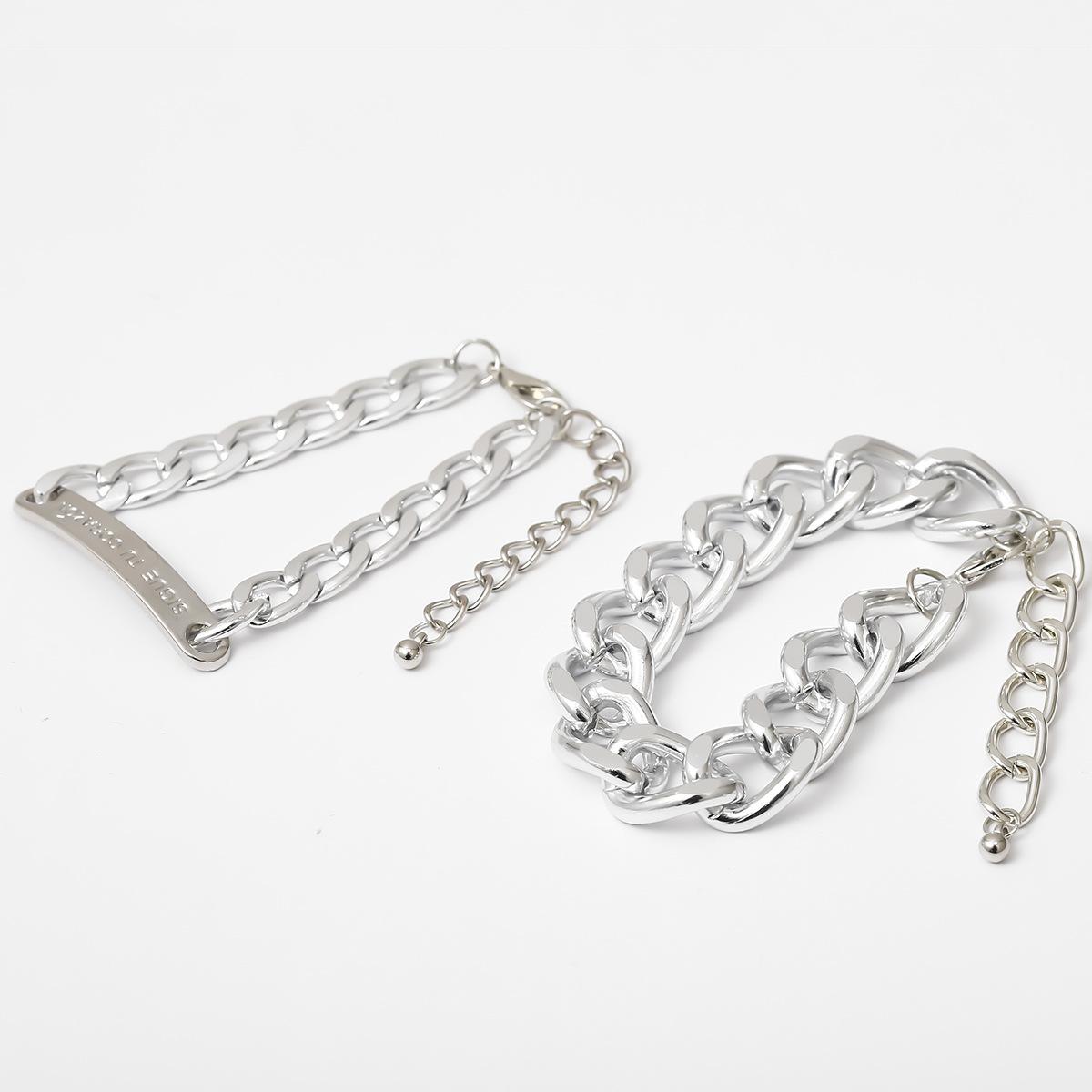 New fashion wild hip-hop metal chain geometric bracelet with square letter nameplate suit bracelet women NHXR204540