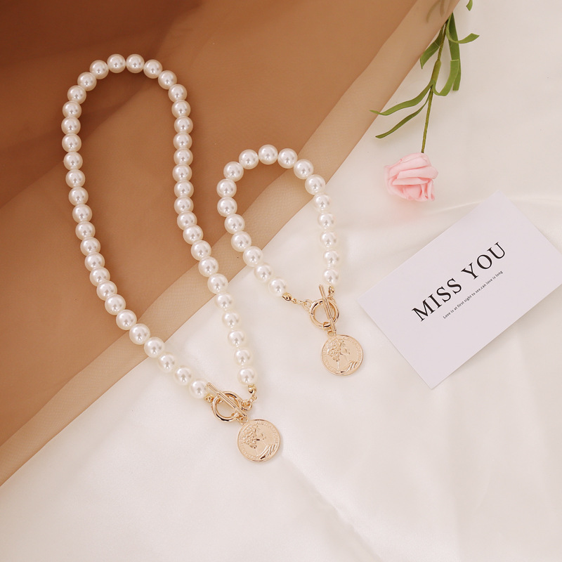 fashion pearl necklace coin necklace  NHBW324796